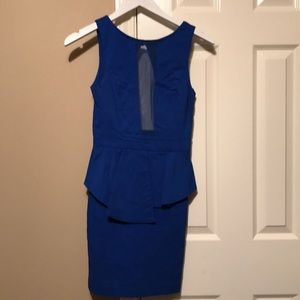 Blue peplum cocktail dress